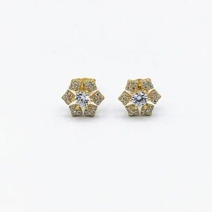 ❄️New 925 SS 18K Gold Snowflake Stud Earrings❄️